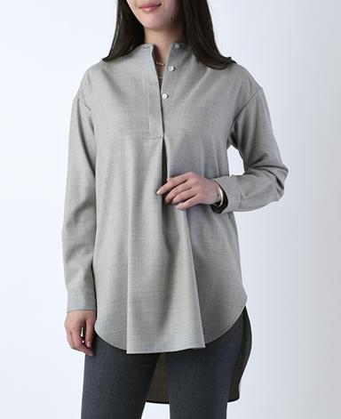 ロングシャツ/ウール(綾織り)