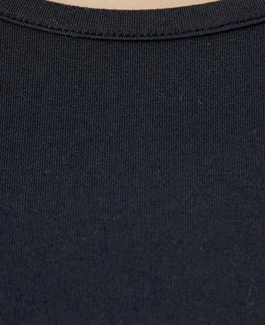 クルーネック七分袖カットソー/ブラック