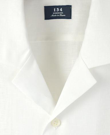半袖リネンシャツ/(オープンカラー)