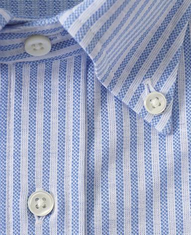 ストライプニットシャツ/シングルニット