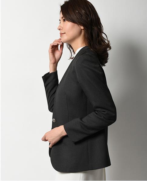 ノーカラージャケット/リネンライク合繊 / イージーケア