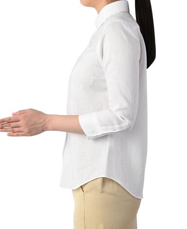 七分袖クラシックシャツ/スマートリネン