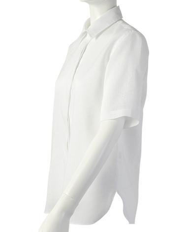 リネン半袖比翼シャツ/平織り