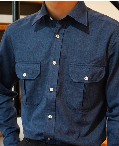カジュアルシャツ/カシミヤブレンド ダブルポケットシャツ
