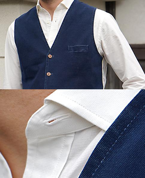 カジュアルシャツ/綿×和紙(スプレッド)
