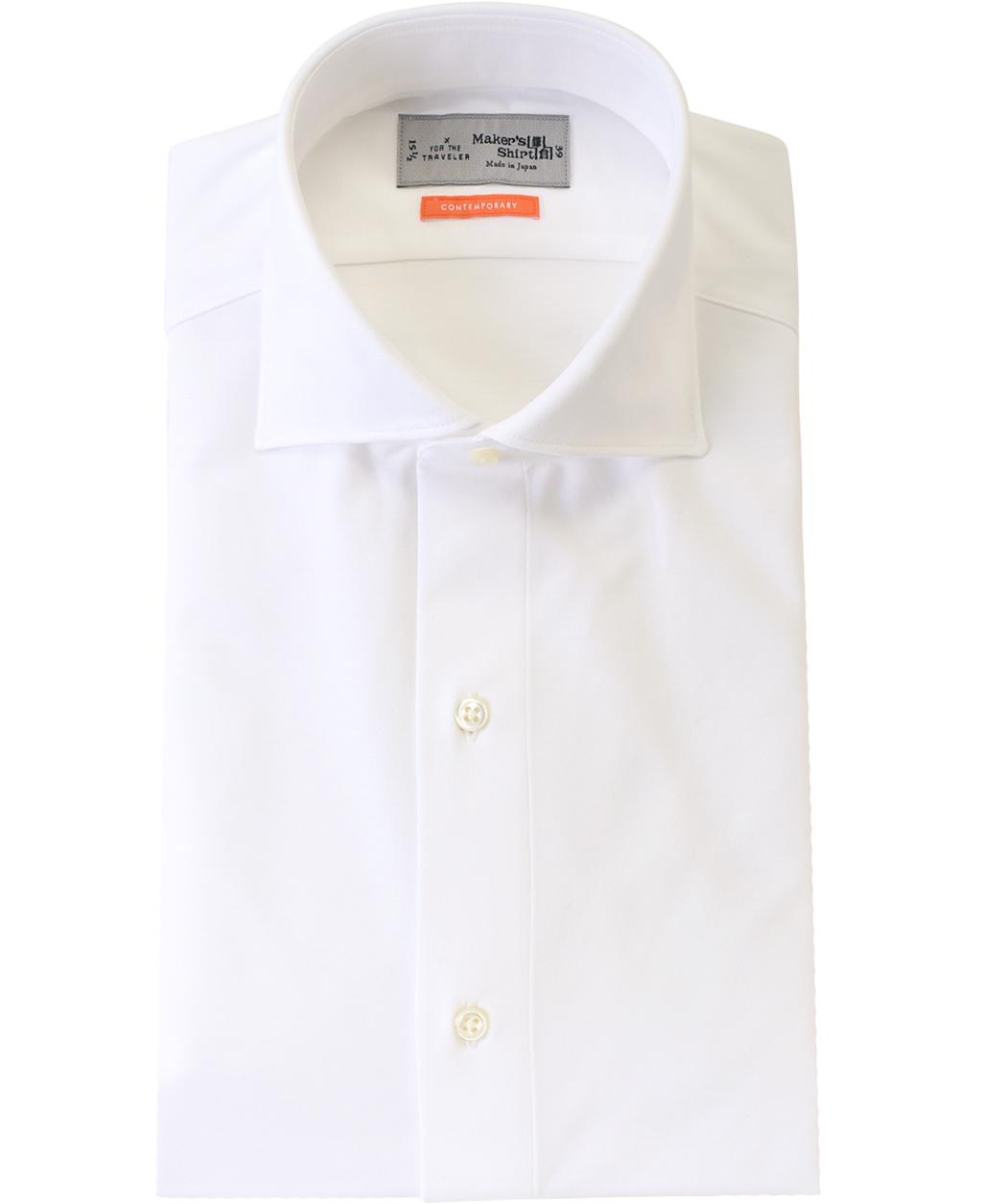 ★ワイドカラーのニットシャツ