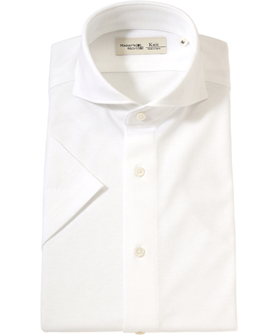 半袖ニットシャツ/ダイヤメッシュ