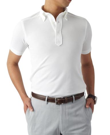 半袖ボタンダウンポロシャツ/カノコニット