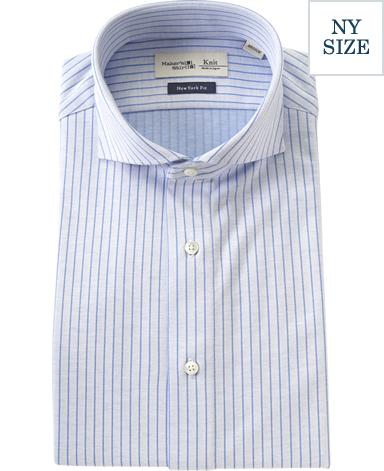 NYストライプニットシャツ/ダブルニット