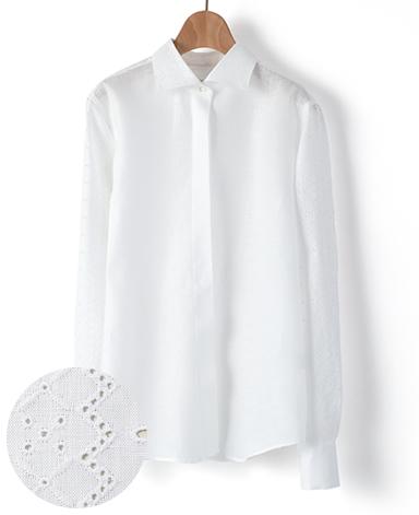 クラシックシャツ/リネンレース