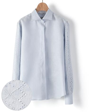 マンハッタンクラシックシャツ/リネンレース