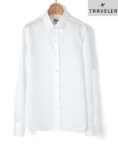 クラシックシャツ ラウンドカラー/Wモデル/スマートクロス