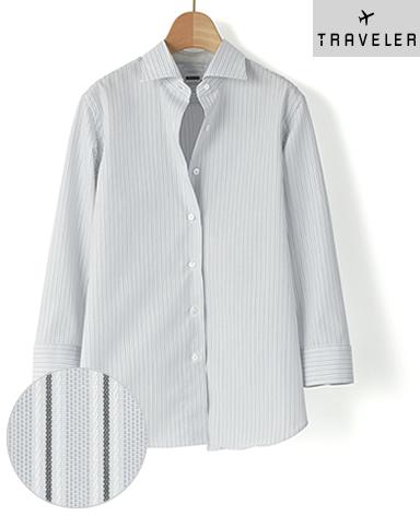 七分袖 クラシックシャツ/ドビー