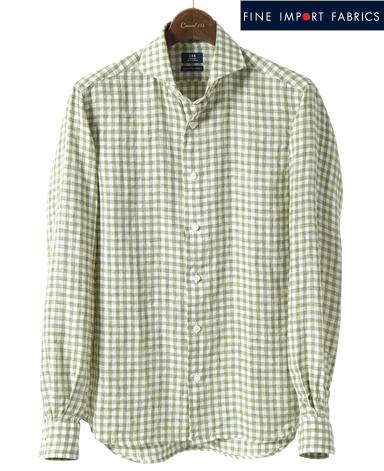 カジュアルシャツ<リネン>/スリム(カッタウェイ)