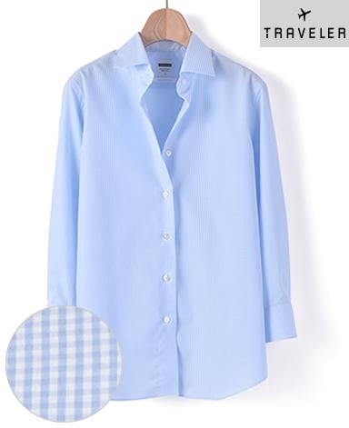 クラシックシャツ/平織り / 七分袖